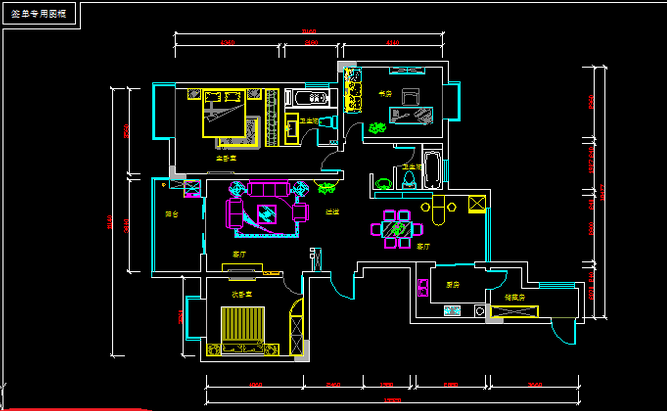 5、家具平面尺寸图主要是复制家具平面布置图来进行标注.-CAD