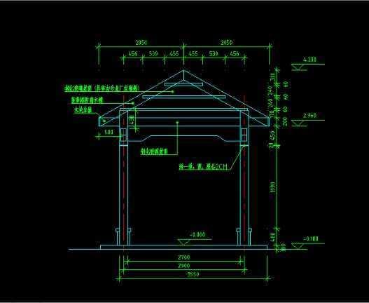 cad2009绘制景观亭剖面图教程