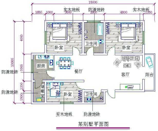 cad2006绘制别墅平面图