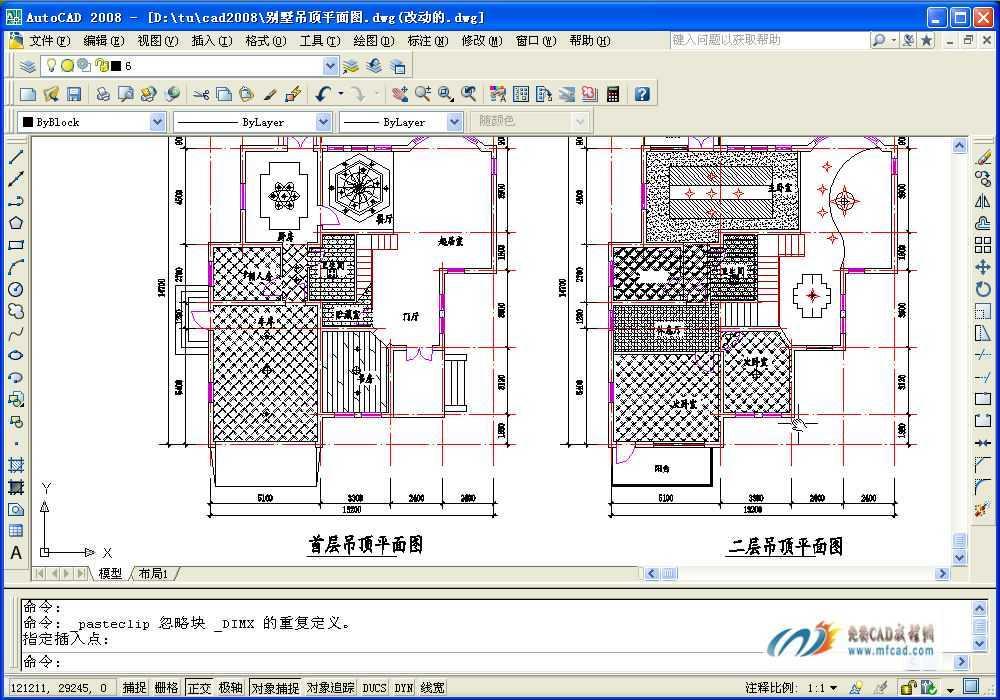 室内设计别墅地板和天花平面图图片