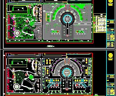 校园广场设计平面图包括总平面图、种植平面图、照明平面图、A区平面图、B.D区剖立面、花坛详图、弧形大样铺装图、廊架详图、凉亭详图、树池详图等