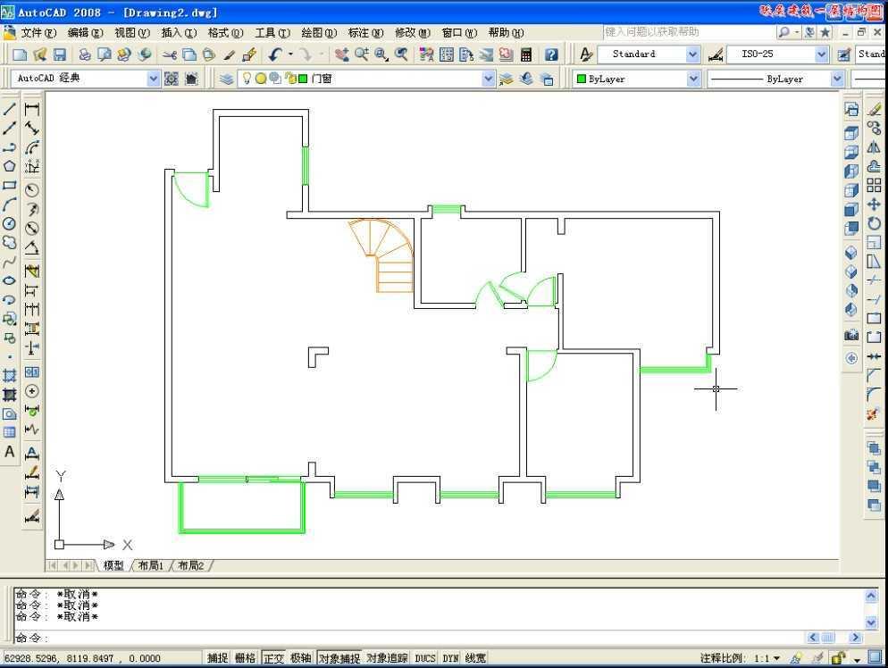 cad2008绘制跃层建筑一层建筑结构图