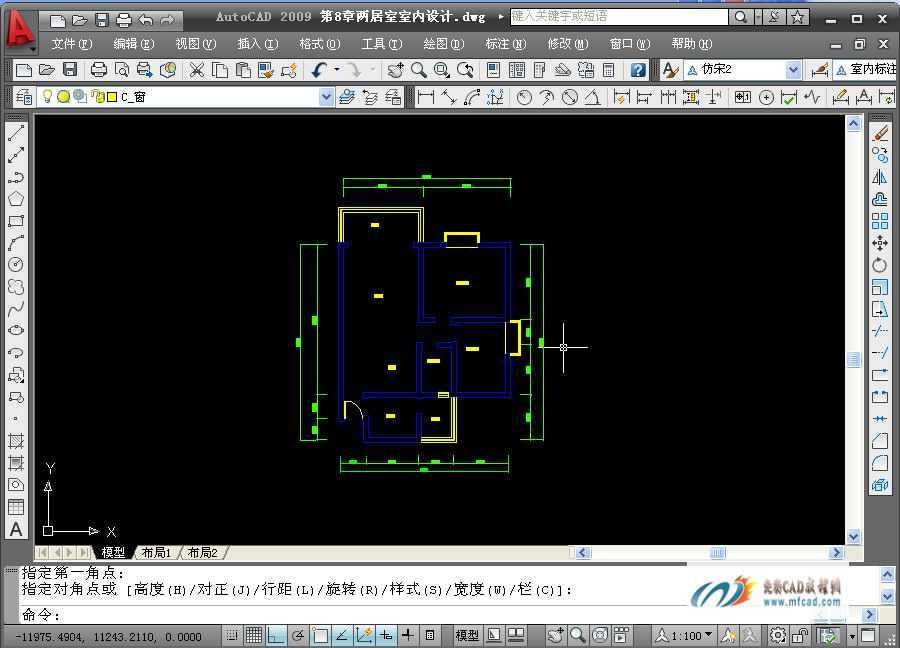 CAD设计两居室绘制规程标注工艺免费文字设计阳台机械图片