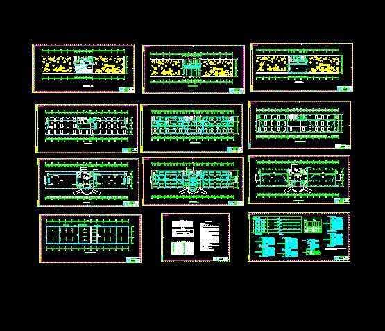 五层综合办公楼电气。一.电源: 本工程用电负荷疏散照明为二级(备用电源为灯内自带蓄电池), 其余属三级负荷. 电源取自室外低压电网. 电源进户处须做重复接地. 二.配电系统: 采用三相四线制,配电电压为~220/380V. 三.设备选型与安装: 1.电源配电柜为GGD低压开关柜, 每层设一台楼层照明配电箱暗装, 分户配电箱均为暗装.