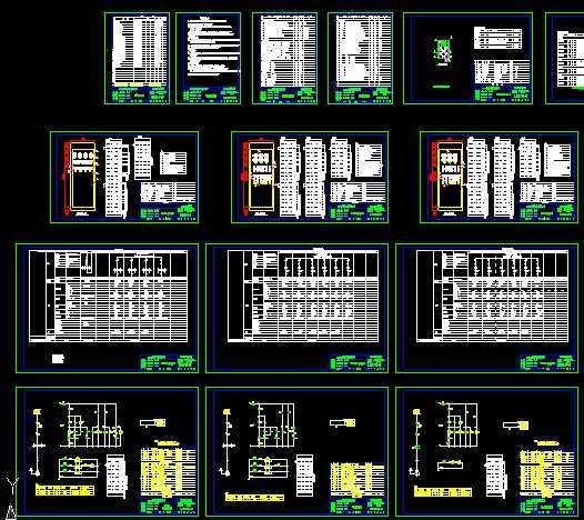 某成套低压工厂供电设计图 部分说明:本次设计共配置了低压配电柜9台,低压无功功率补偿柜1台、补偿容量为180kvar。低压配电柜选用型号:GGD(2)型,低压配电柜面板上的电气元件以及柜内元器件由低压配电柜生产厂家成套供应