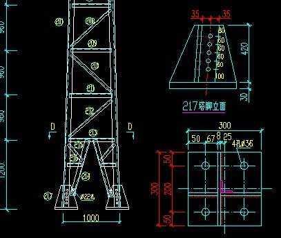 10kv配网工程单回路转角塔大样图