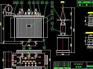 油浸式电力变压器工程cad图纸图纸图框图片