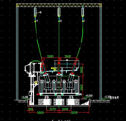 屋外主变压器安装接线图