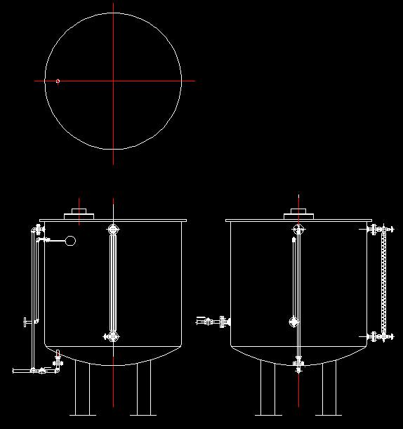 储水桶外形及管路连接示意图