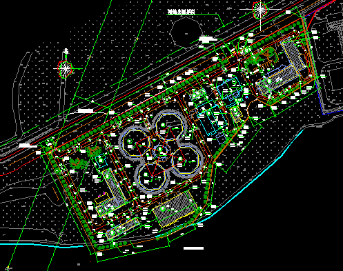 污水处理厂优乐娱乐图纸(含建筑结构电暖等)
