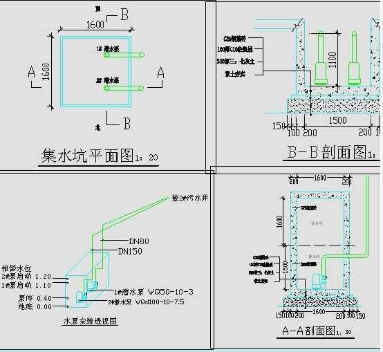此图为某街改造工程综合管沟集水坑、设备施工图.综合管沟内自动排水系统全套图纸,一、设计依据:依据某街改造工程指挥部要求和为保证综合管沟内电力、弱电等设施的安全运行。 二、设计内容:集水坑结构 排水系统 电气控制系统 三、集水坑为钢筋砼结构并做防水处理。集水坑内壁刷聚氨酯防水涂料两道然后做20厚1:2.