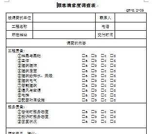 工程项目顾客满意度调查表免费下载 建筑表格