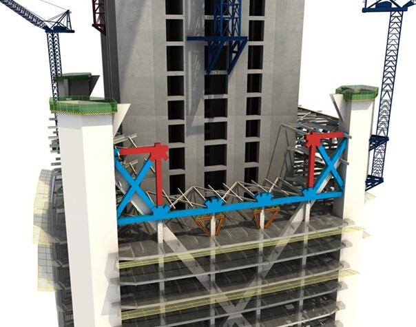 【施工技术分享】北方第一高楼钢结构施工流程图赏(三维效果图