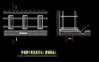脚手架搭设cad图_双排落地脚手架搭设节点CAD版