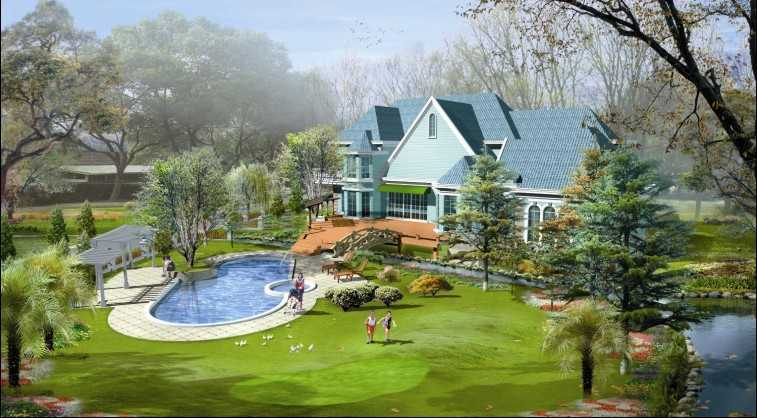 上海西郊庄园别墅景观设计效果图