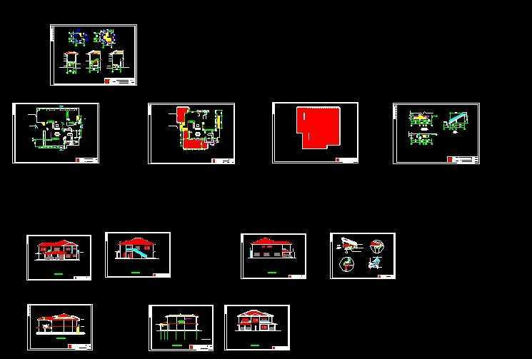 层坡屋顶别墅建筑施工图