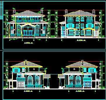 双拼别墅建筑设计图免费下载