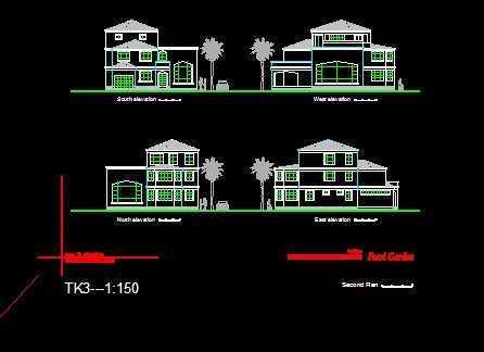 B型独立式图纸立面图免费下载小区别墅v图纸房型图片