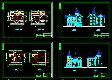 主要规划了平面图和别墅正背面立体图