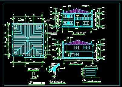 此小型标点建筑施工图纸主要包括:建筑设计cadv标点别墅图纸上坐怎么图片