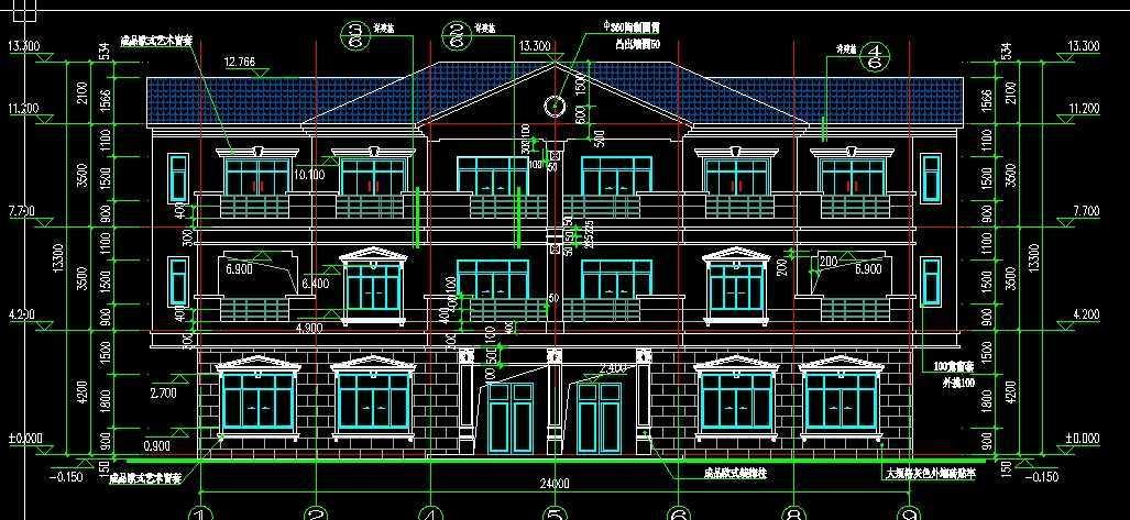 欧式乡村别墅建筑施工图