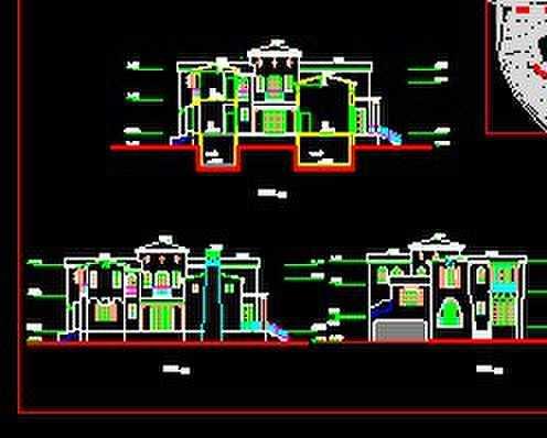 独立别墅立面剖面图