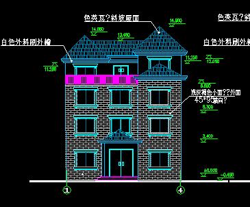 四层新农村单家独院式别墅设计图(含就建筑结构水电)图片