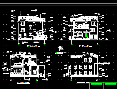 三层别墅建筑施工图纸 含水电结构施工图