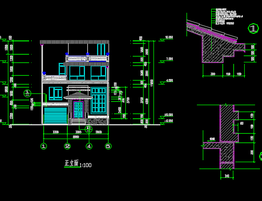 100平方米四层农村自建房建筑设计图纸