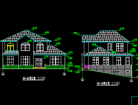 208平方米二层山区别墅建筑施工图纸