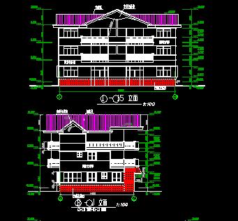294平方米三层双拼别墅建筑施工图纸