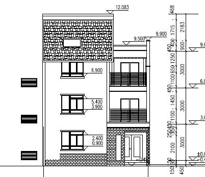 72平方米三层混砖别墅建筑设计图