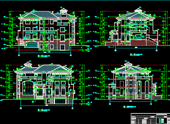 某三层别墅建筑优乐娱乐图纸