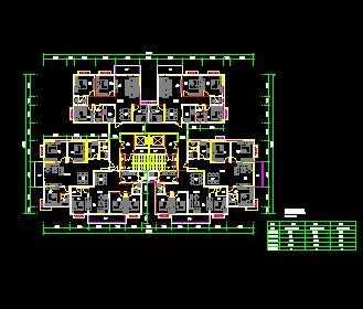 某一梯六户住宅楼户型平面图