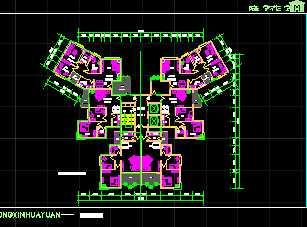 某一梯六户住宅户型平面图免费下载 建筑规划图