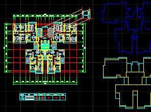 某一梯四户高层住宅平面图免费下载 建筑规划图