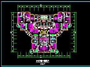 某一梯四户住宅户型平面图免费下载 建筑规划图