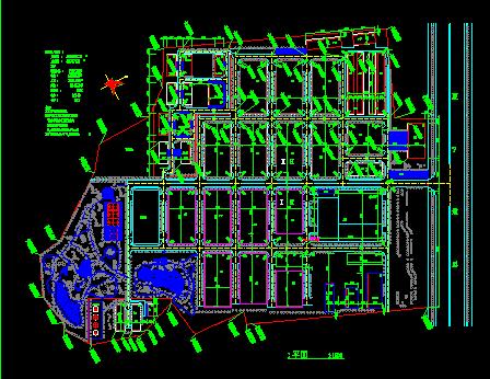 某工业城规划设计总平面图