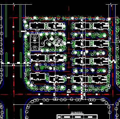 多层花园住宅小区总平面布置规划图
