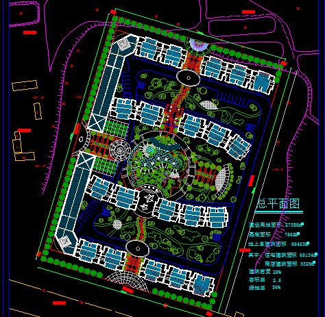某小型联排住宅小区规划总平面图(附效果图)