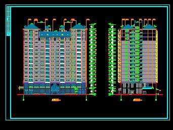 湘江明珠高层住宅平立面图 高清图片