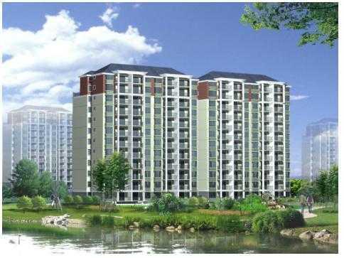 12层小高层住宅楼建筑带效果图 高清图片