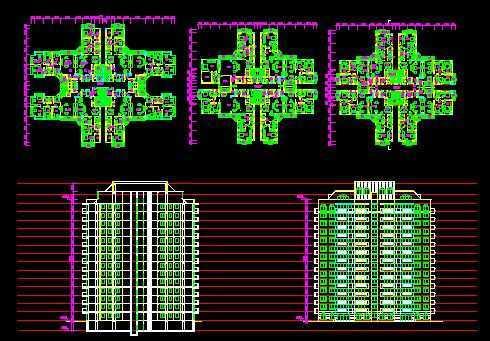 高层住宅 平 立面图 免费下载 建筑 户型 平面图 高清图片