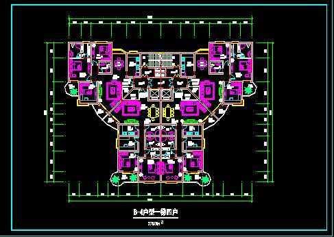 一梯四户住宅平面图免费下载 建筑户型平面图