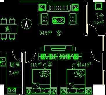 经典户型一梯八户公寓平面图