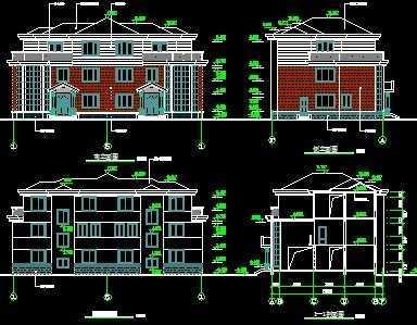 双拼别墅建筑施工图