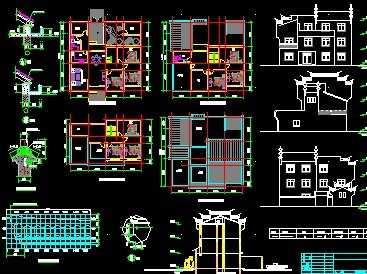 徽派住宅建筑工程施工图纸