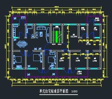 某单元式住宅标准层平面图免费下载 建筑户型平面图