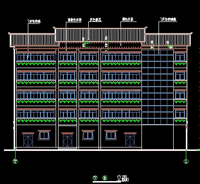 藏式建筑住宅楼建筑设计图纸图片