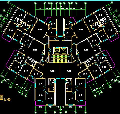 高层塔式住宅户型平面设计图纸